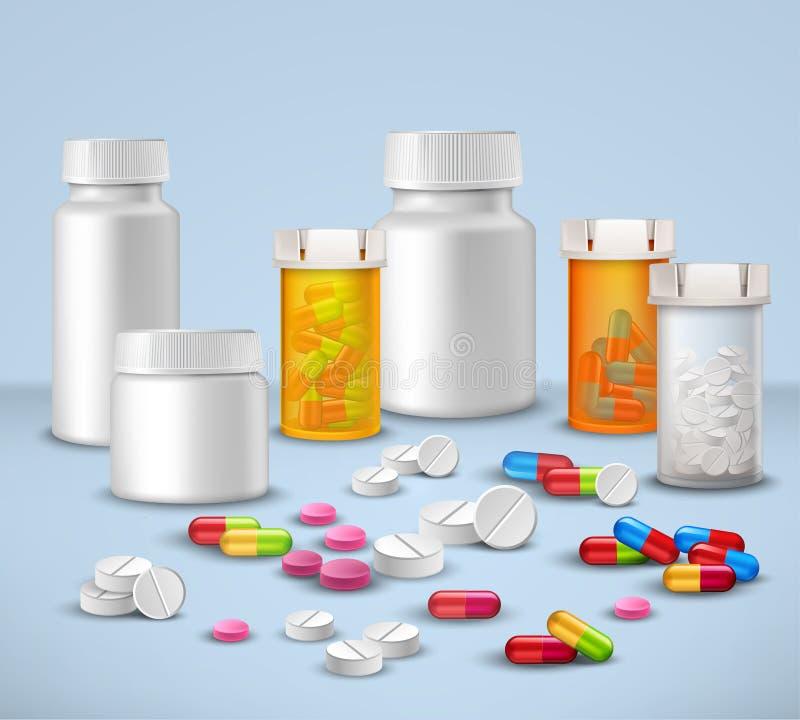 Botellas de píldora fijadas libre illustration