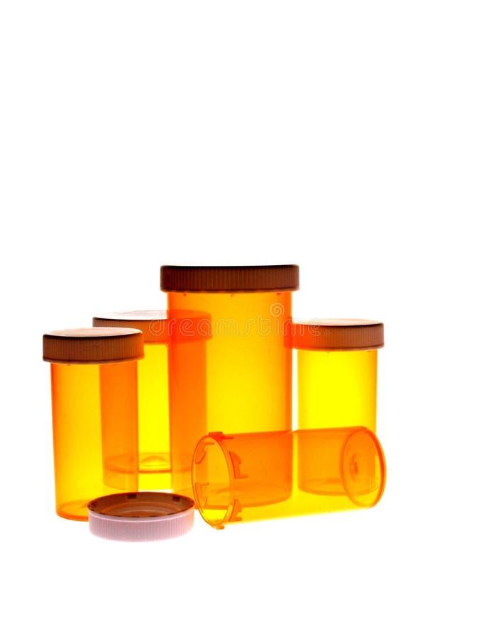 Botellas de píldora vacías imagen de archivo