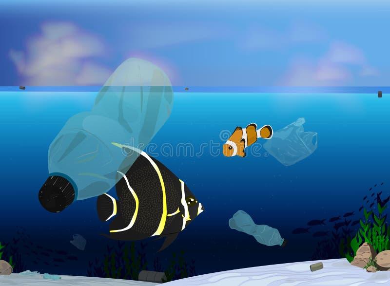 Botellas de Pastic en el icono del océano en un fondo azul Ejemplo de la contaminación del ambiente en azul Basura en el océano ilustración del vector
