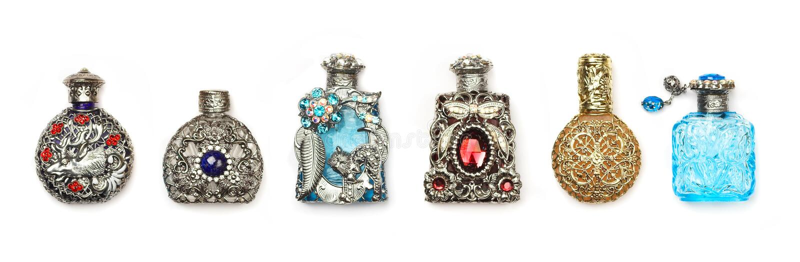 Botellas de perfume del vintage imagenes de archivo