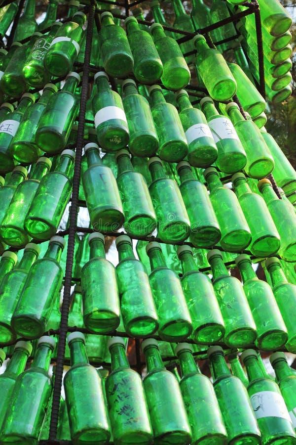 Botellas de Soju - alcohol verde de cerca. foto de archivo libre de regalías