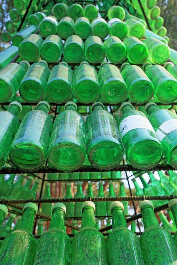Botellas de Soju - alcohol verde de cerca fotos de archivo libres de regalías