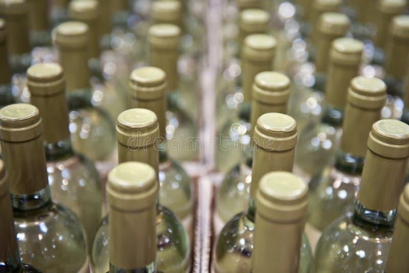Botellas de vino blanco fotografía de archivo libre de regalías