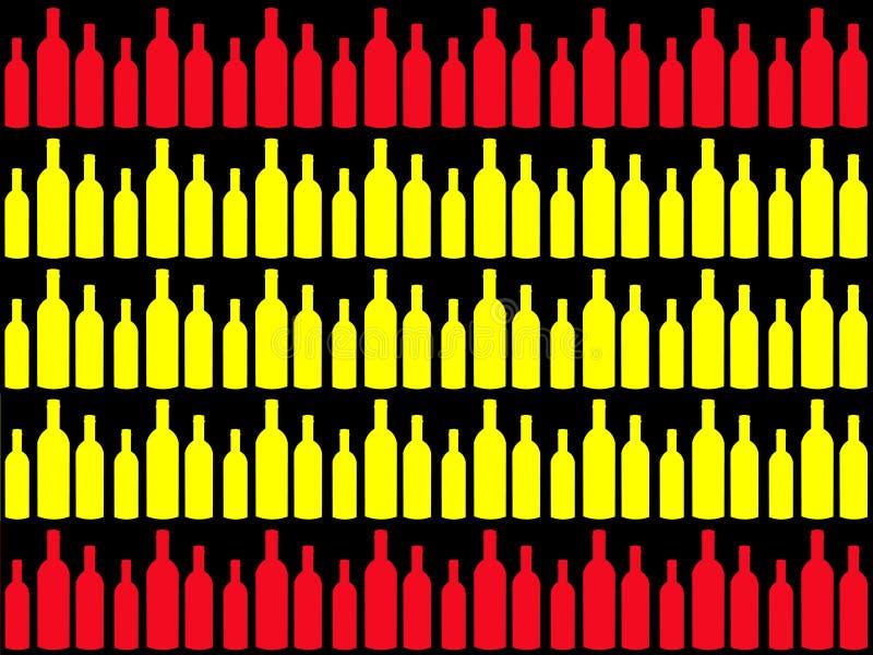 Botellas de vino e indicador español stock de ilustración