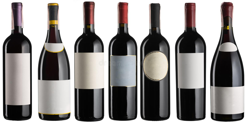 Botellas de vino rojo fijadas foto de archivo