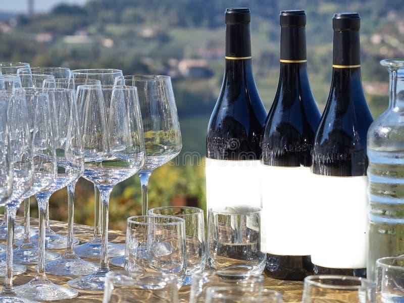 Botellas de vino y de vidrios con el campo de Langhe foto de archivo