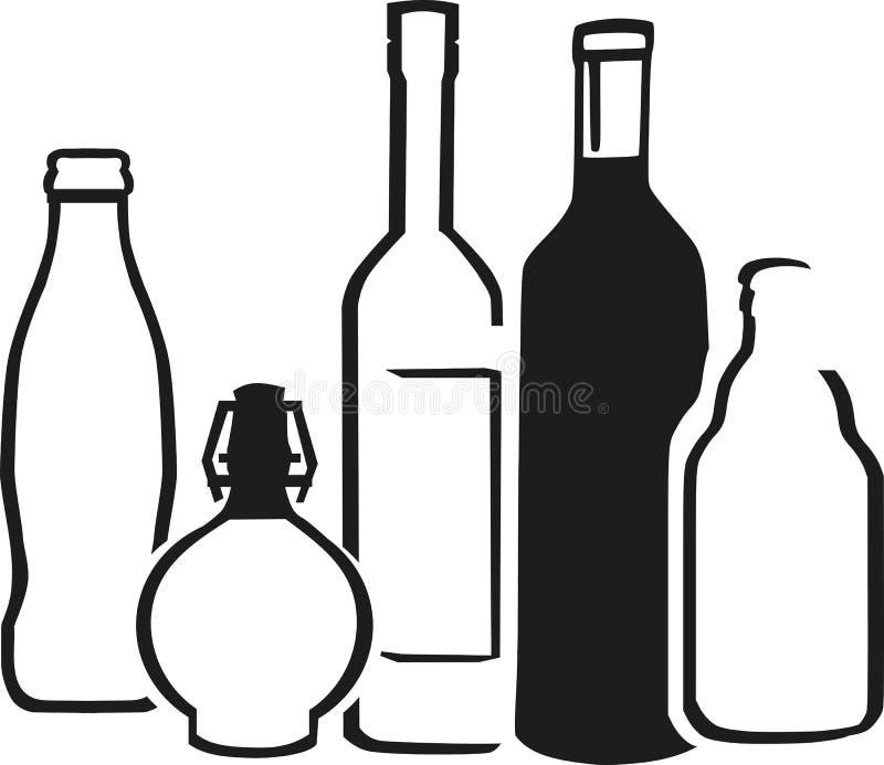 Botellas del alcohol ilustración del vector