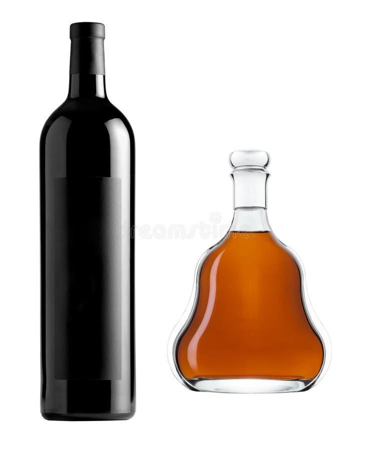 Botellas del vino y de whisky fotografía de archivo