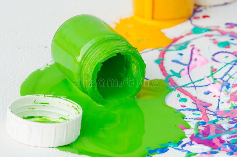 Botellas derramadas de la pintura imagen de archivo libre de regalías