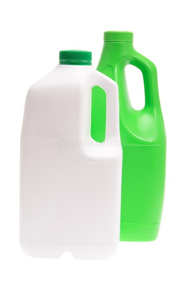 Botellas detergentes plásticas foto de archivo