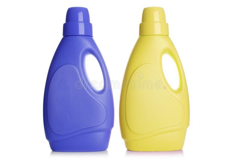 Botellas detergentes plásticas fotos de archivo libres de regalías