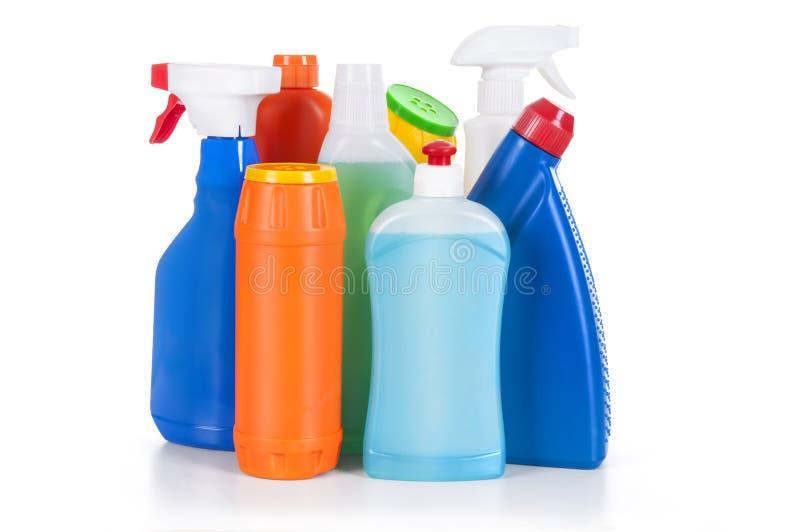 Botellas detergentes plásticas fotografía de archivo