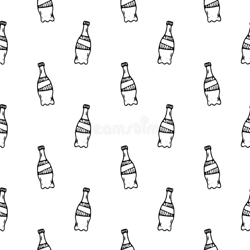 Botellas exhaustas de la mano inconsútil del modelo Bosquejo del negro del garabato Muestra S ilustración del vector