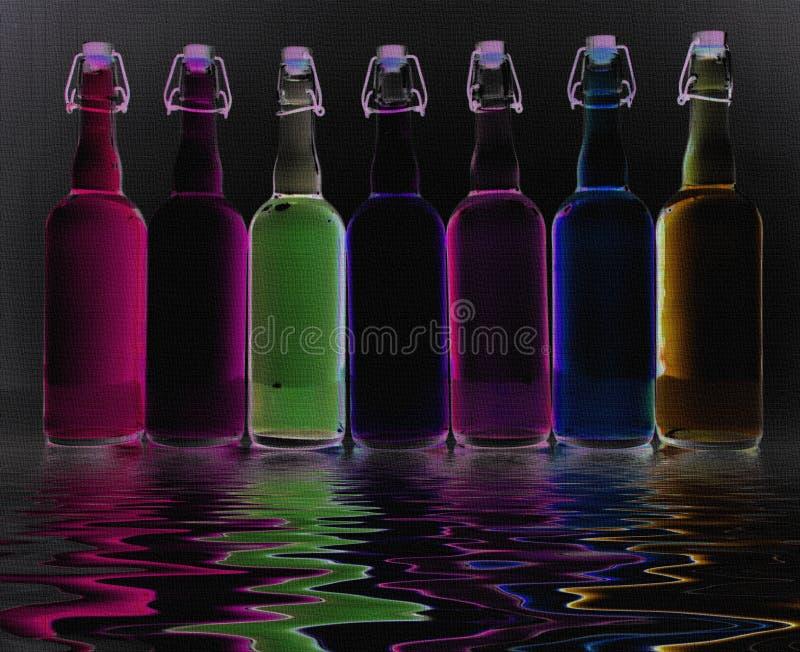 Botellas llenadas color imagenes de archivo