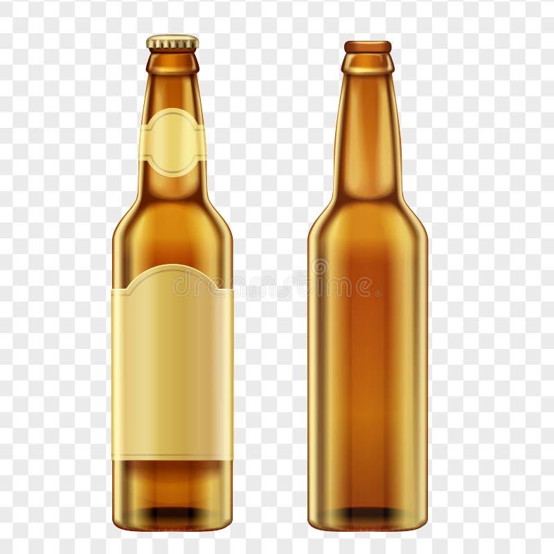 Botellas marrones de oro realistas de cerveza en fondo transperant alfa Ilustración del vector ilustración del vector
