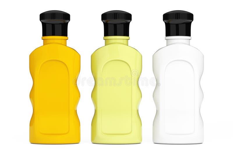 Botellas multicoloras en blanco del cosmético del hotel representación 3d stock de ilustración