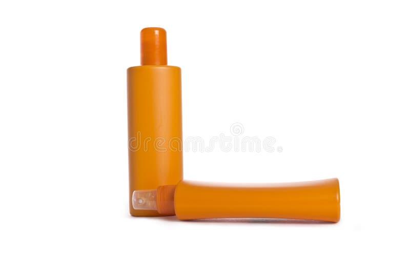 Botellas plásticas de los cosméticos fotografía de archivo libre de regalías