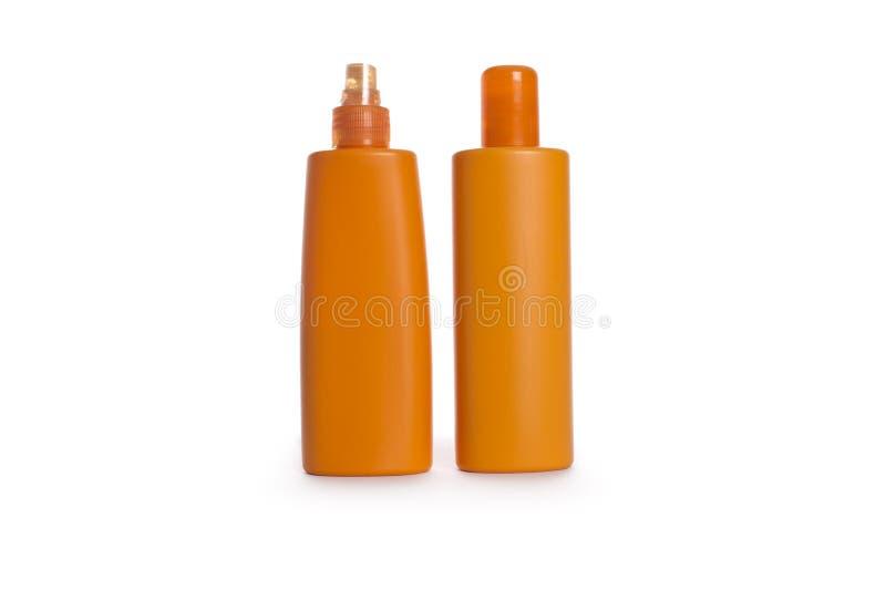 Botellas plásticas de los cosméticos fotos de archivo libres de regalías