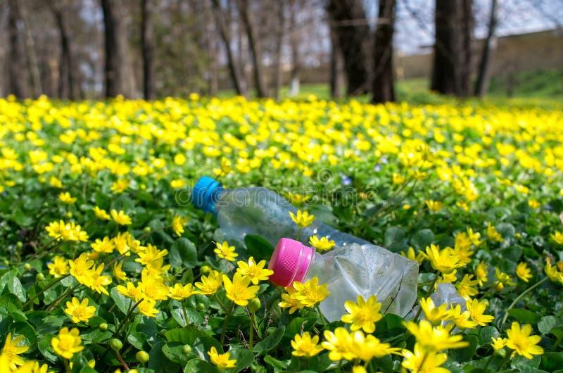 Botellas plásticas desechadas en la hierba fotos de archivo