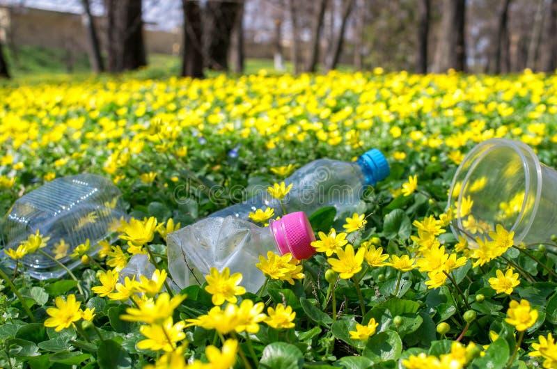 Botellas plásticas desechadas y empaquetado en la hierba imágenes de archivo libres de regalías