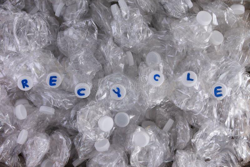 Botellas plásticas machacadas del animal doméstico para reciclar fotografía de archivo libre de regalías