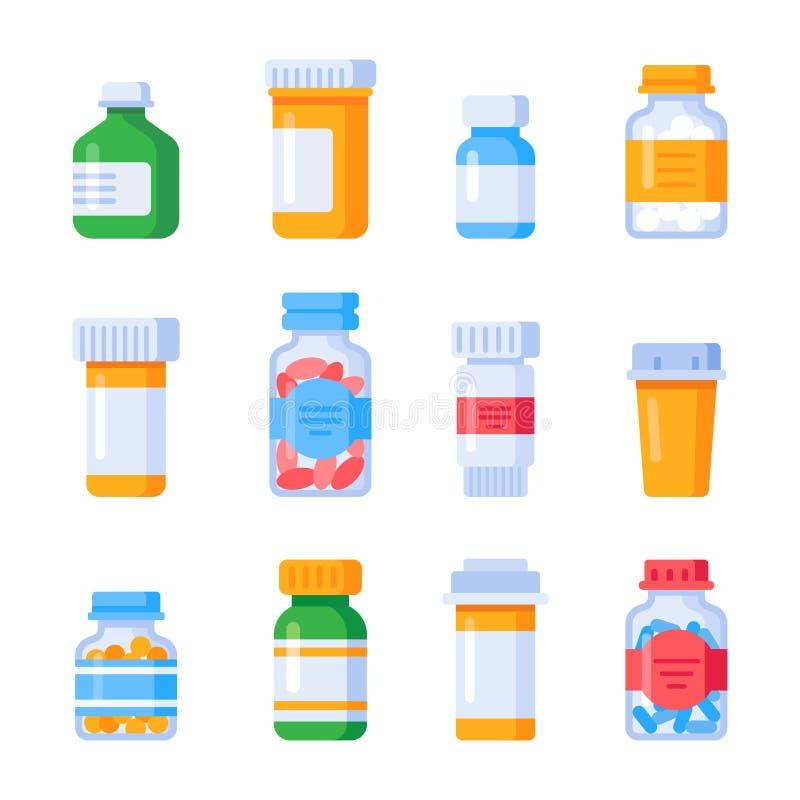 Botellas planas de la medicina Botella de la vitamina con la etiqueta de la prescripción, píldoras envase de la droga o vitaminas ilustración del vector