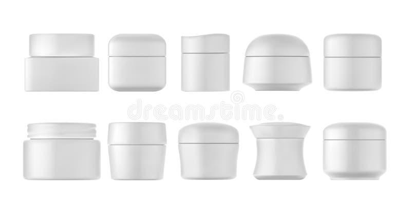 Botellas poner crema fijadas ilustración del vector