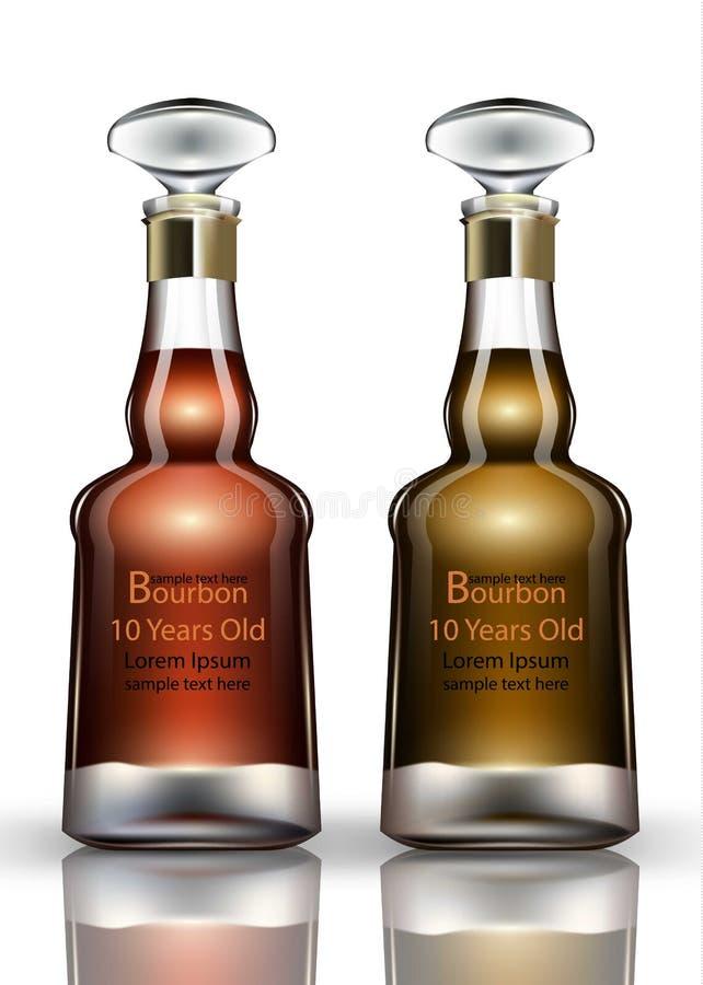 Botellas realistas del vector del coñac de Borbón Mofa del diseño de empaquetado del producto encima de los ejemplos 3d stock de ilustración