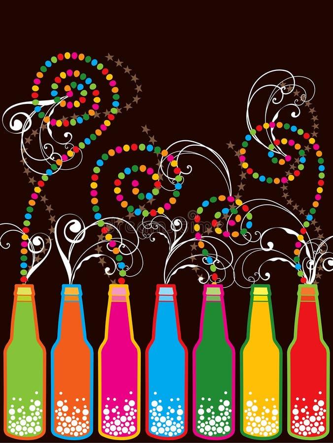 Botellas retras coloridas del Año Nuevo del estallido