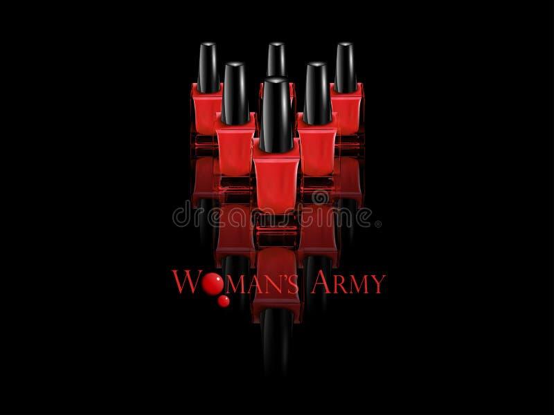 Botellas rojas de esmalte de uñas stock de ilustración
