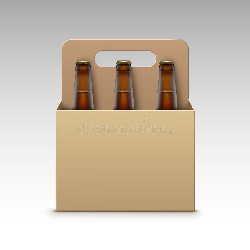 Botellas transparentes cerradas cerveza oscura y paquete libre illustration