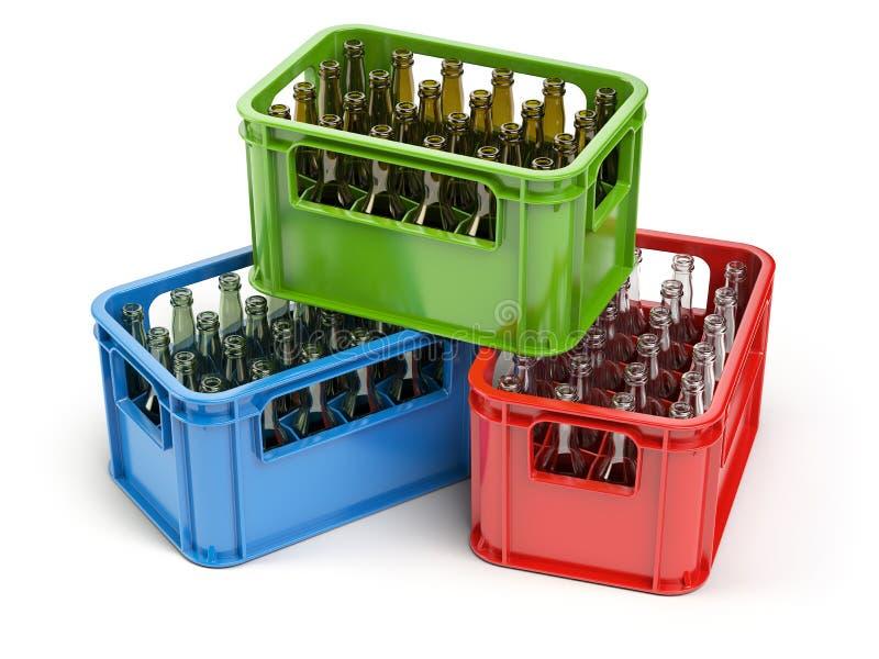 Botellas vacías en el cajón del strage para las botellas Reciclaje de cristal libre illustration