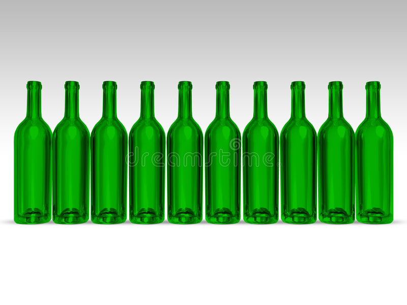 Botellas verdes stock de ilustración