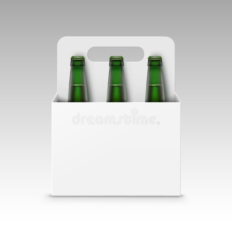 Botellas verdes transparentes de cristal en blanco cerradas de cerveza ligera con el empaquetado para el cierre de marcado en cal libre illustration