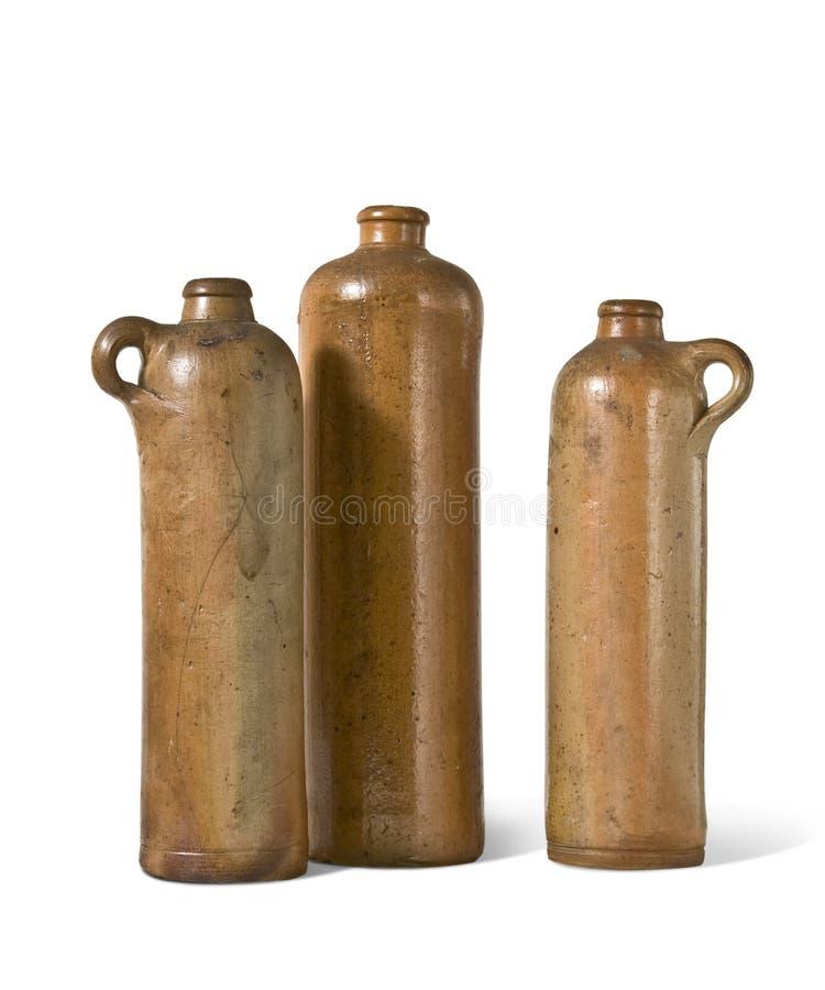 Botellas viejas de la arcilla fotos de archivo libres de regalías