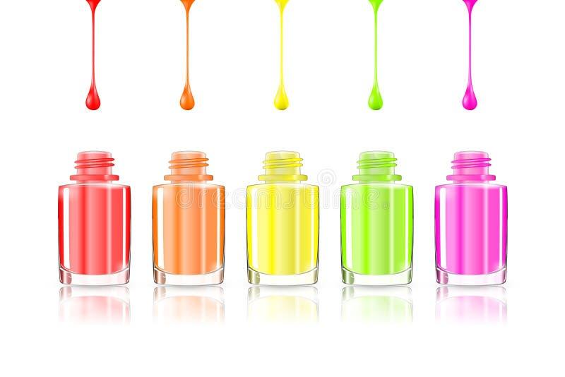 Botellas vivas del esmalte de uñas del arco iris Goteos multicolores aislados en el fondo blanco Ejemplo eps10 del vector: malla  stock de ilustración