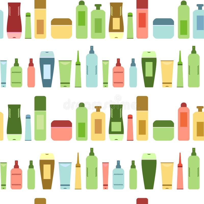 Botellas y tubos cosméticos coloridos de los productos de belleza en el modelo inconsútil blanco, vector stock de ilustración