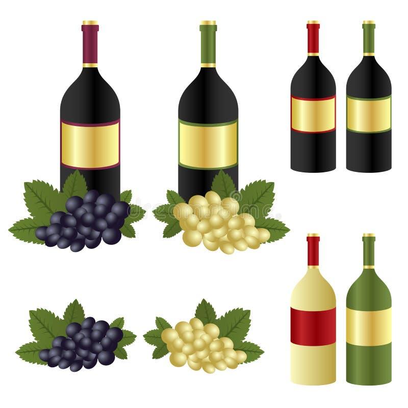 Botellas Y Uva De Vino Imágenes de archivo libres de regalías
