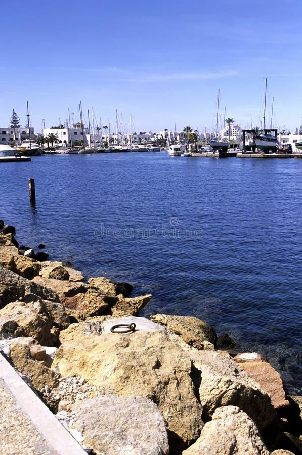 Boten bij haven Tunesië stock fotografie