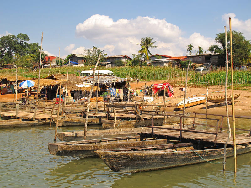 Boten bij Mekong rivier royalty-vrije stock afbeelding