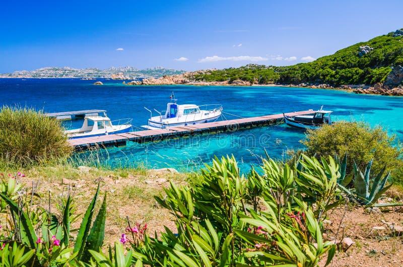 Boten bij pijler in smaragdgroen mediterraan zeewater, kust van het eiland van Maddalena, Sardinige, Italië royalty-vrije stock fotografie