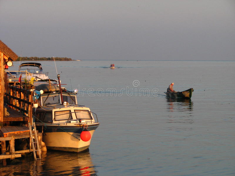 Boten in de Delta van Donau stock afbeeldingen