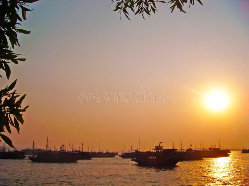 Boten in de Lange baai die van Ha worden vastgelegd royalty-vrije stock foto