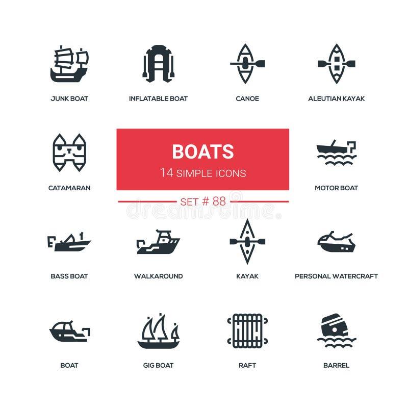 Boten - de vlakke geplaatste pictogrammen van de ontwerpstijl stock illustratie