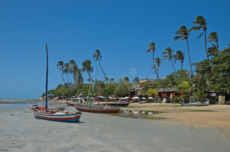 Boten die op tropisch strand worden vastgelegd royalty-vrije stock fotografie