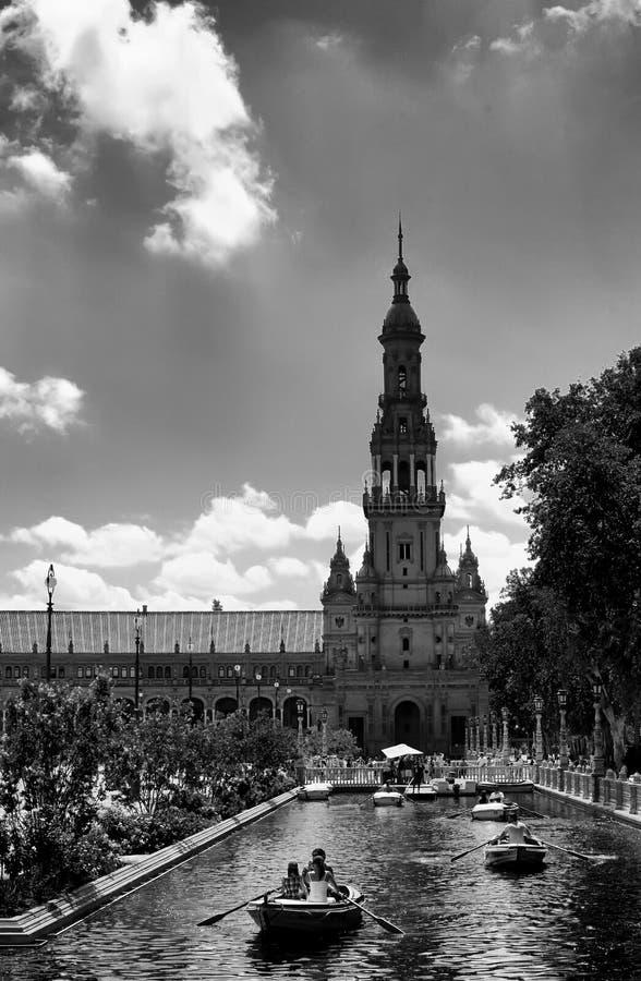 Boten in het Vierkant van Spanje, Sevilla royalty-vrije stock foto's
