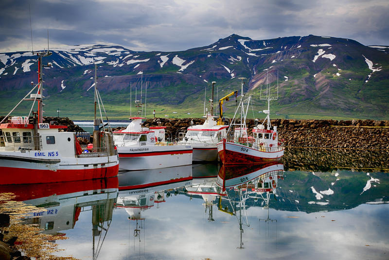 Boten in IJsland stock fotografie