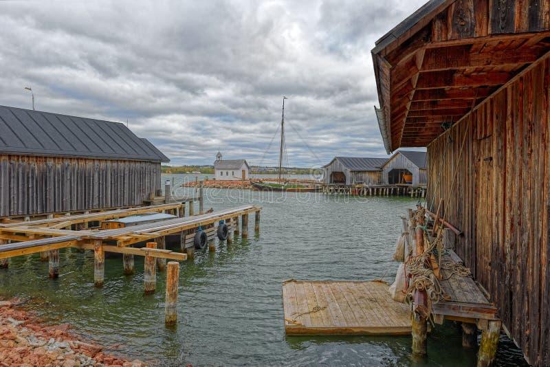 Boten in Maritiem Kwart in Mariehamn, Aland-eilanden royalty-vrije stock afbeelding