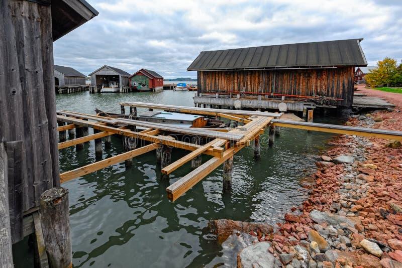 Boten in Maritiem Kwart in Mariehamn, Aland-eilanden royalty-vrije stock afbeeldingen