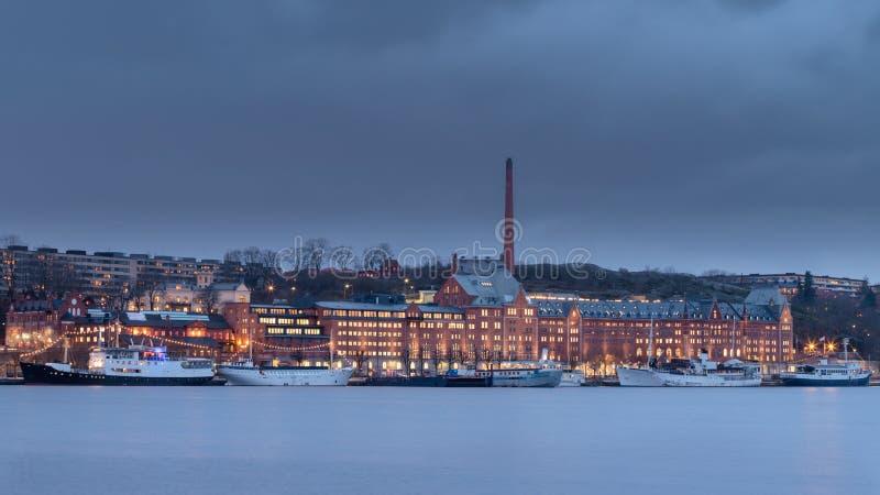 Boten in meer Mälaren, Zweden worden gedokt dat royalty-vrije stock afbeelding
